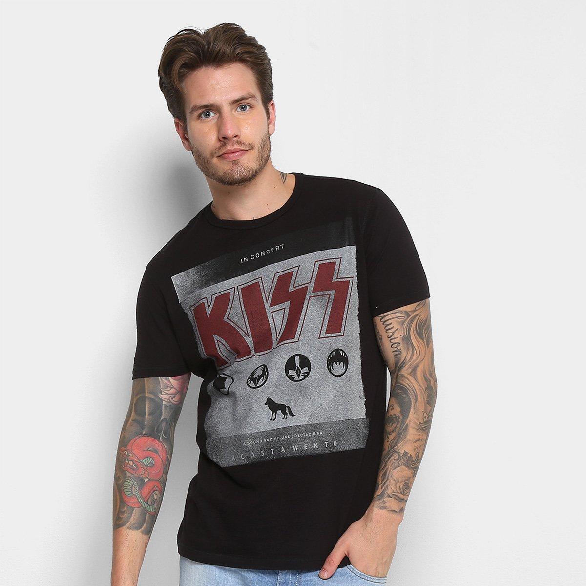 3520ab0bd Camiseta Acostamento Banda Kiss Masculina - Compre Agora