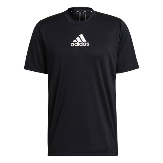Camiseta Adidas 3 Stripes Designed To Move Masculina - Preto+Branco