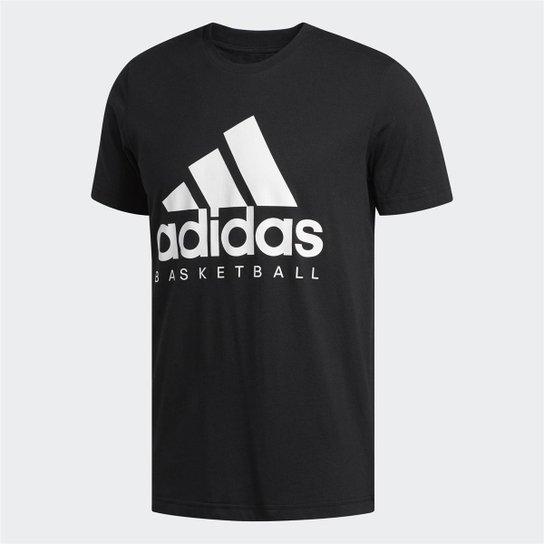 Camiseta Adidas Basketball Graphic Masculina - Preto+Branco