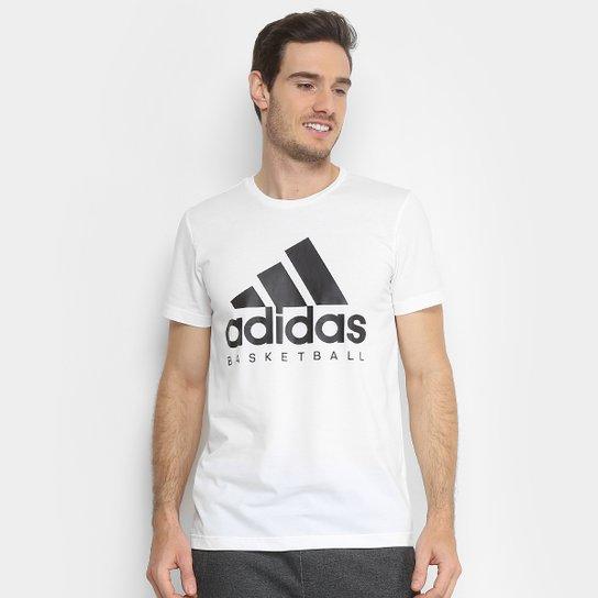 Camiseta Adidas Basketball Graphic Masculina - Branco+Preto