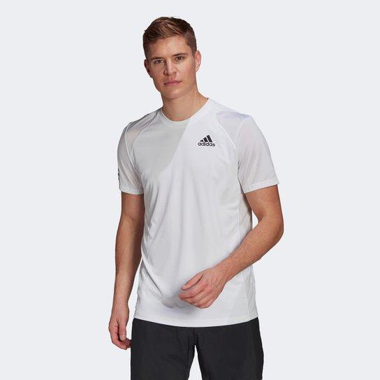 Camiseta Adidas Club 3 Listras Masculina - Branco+Preto