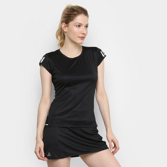 Camiseta Adidas Club 3 Stripes Feminina - Preto+Prata