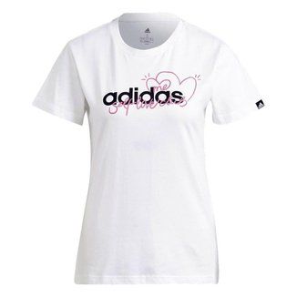 Camiseta Adidas Coração Branco Feminino