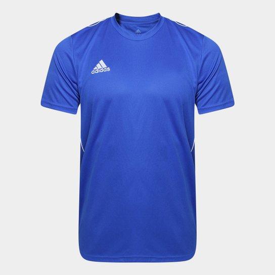 Camiseta Adidas Core 18 Masculina - Azul+Branco