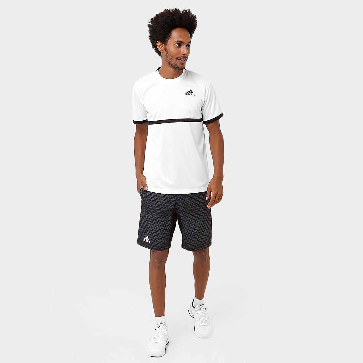 7bb22dc53d2ac Camiseta Adidas Court Masculina - Branco e Preto - Compre Agora ...