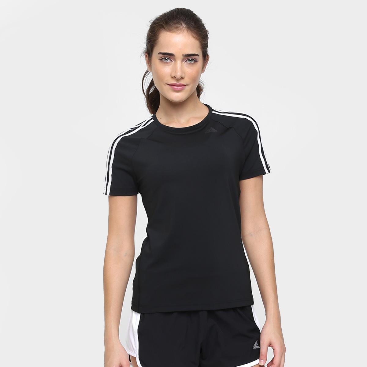 Camiseta Adidas D2M 3S - Preto e Branco - Compre Agora  7eb793bffe220