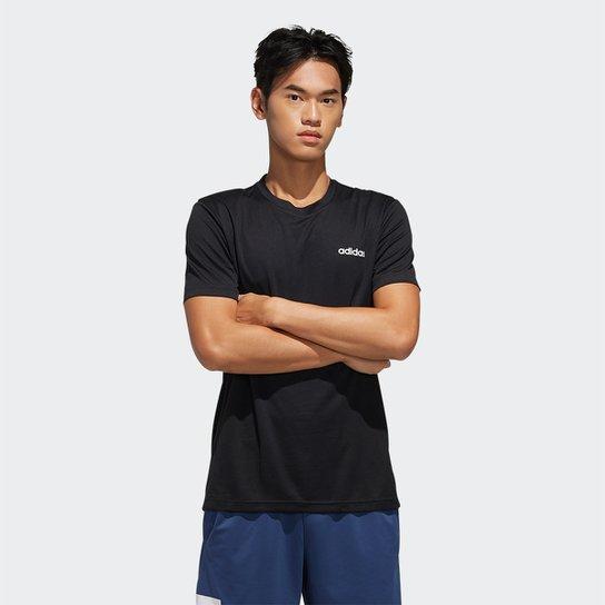 Camiseta Adidas D2M Ar Plain Masculina - Preto+Branco