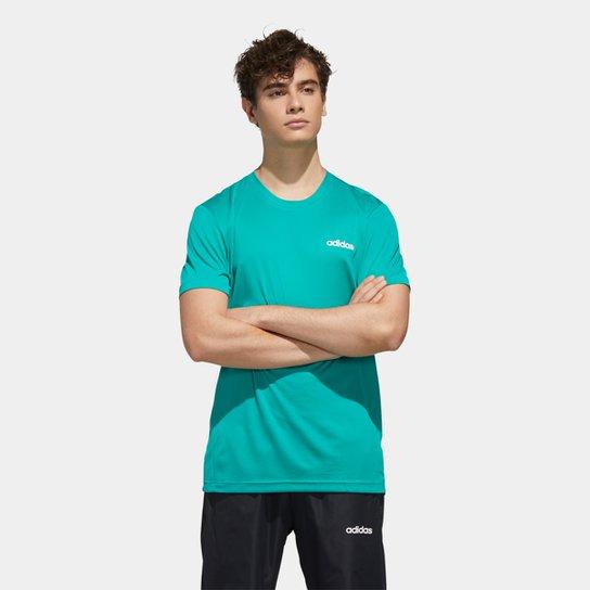 Camiseta Adidas D2M Ar Plain Masculina - Verde+Branco
