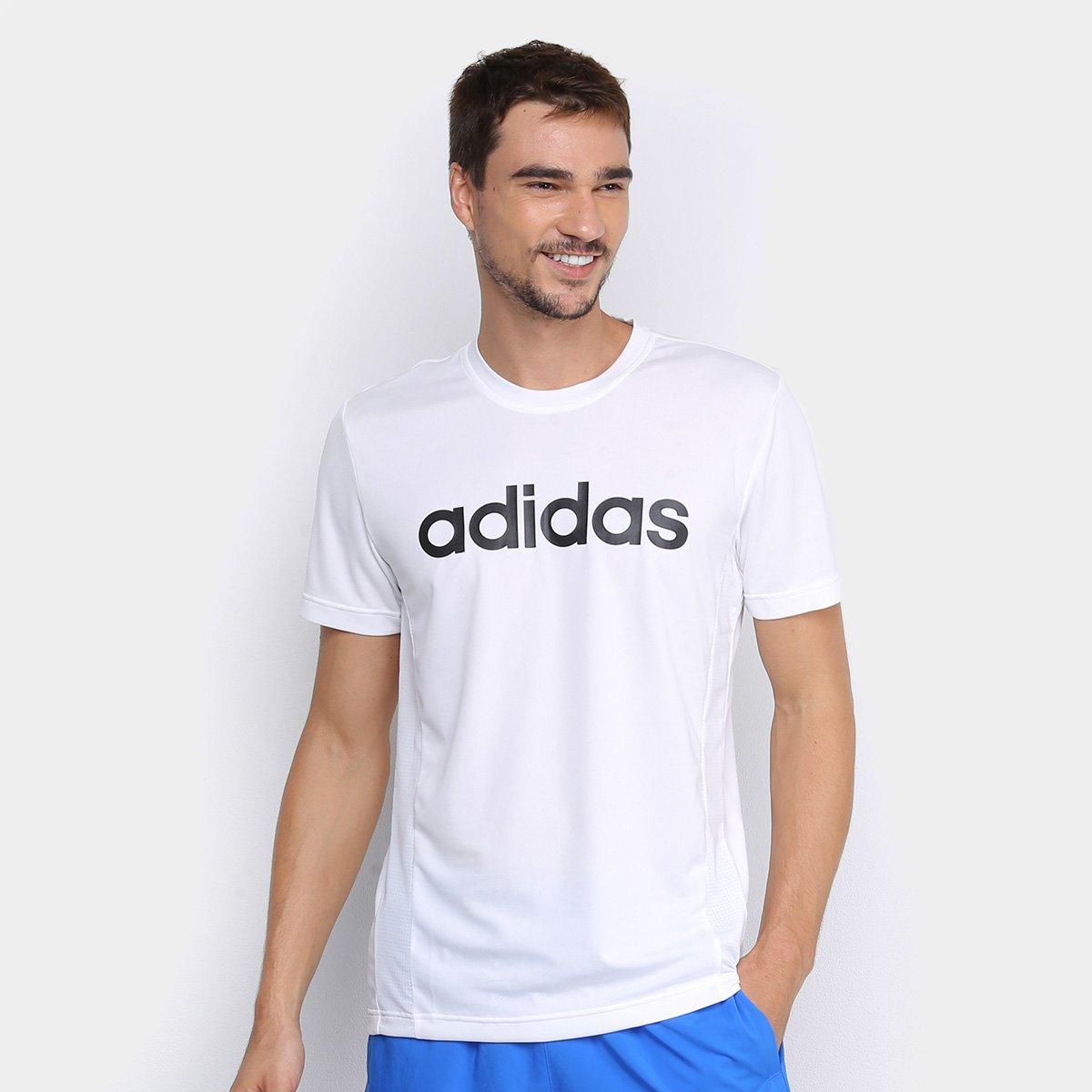 Masacre Y equipo Deudor  Camiseta Adidas D2M Ca Logo Masculina - Branco e Preto   Sergioabranches