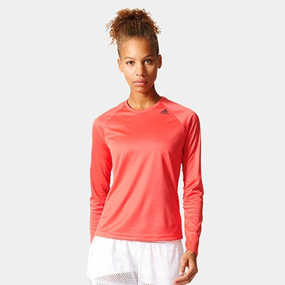 Camiseta Adidas D2M Manga Longa Feminina
