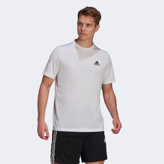 Camiseta Adidas D2M Plain Masculina - Branco+Preto