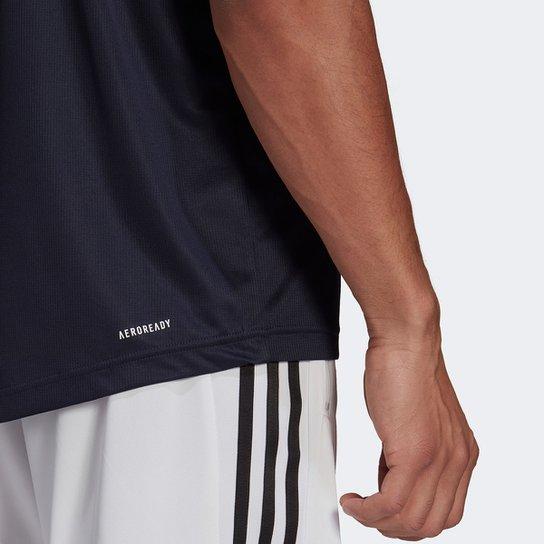 Camiseta Adidas D2M Plain Masculina - Marinho+Branco