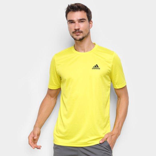 Camiseta Adidas D2M Plain Masculina - Amarelo+Preto