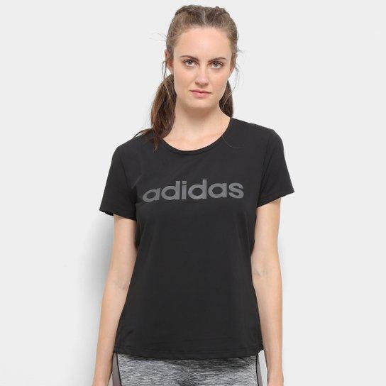 Camiseta Adidas D2M Solid Feminina - Preto+Branco