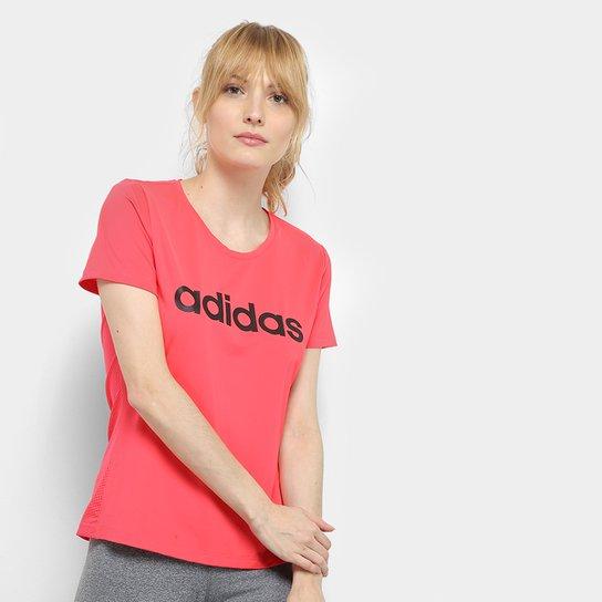 Camiseta Adidas D2M Solid Feminina - Vermelho+Branco