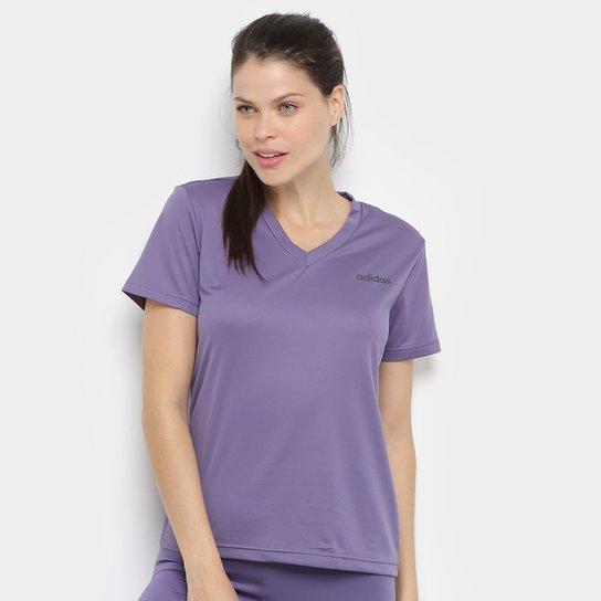 Camiseta Adidas D2M Solid T Feminina - Roxo+Preto