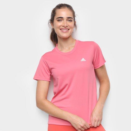 Camiseta Adidas D2M Sport Feminina - Rosa+Branco