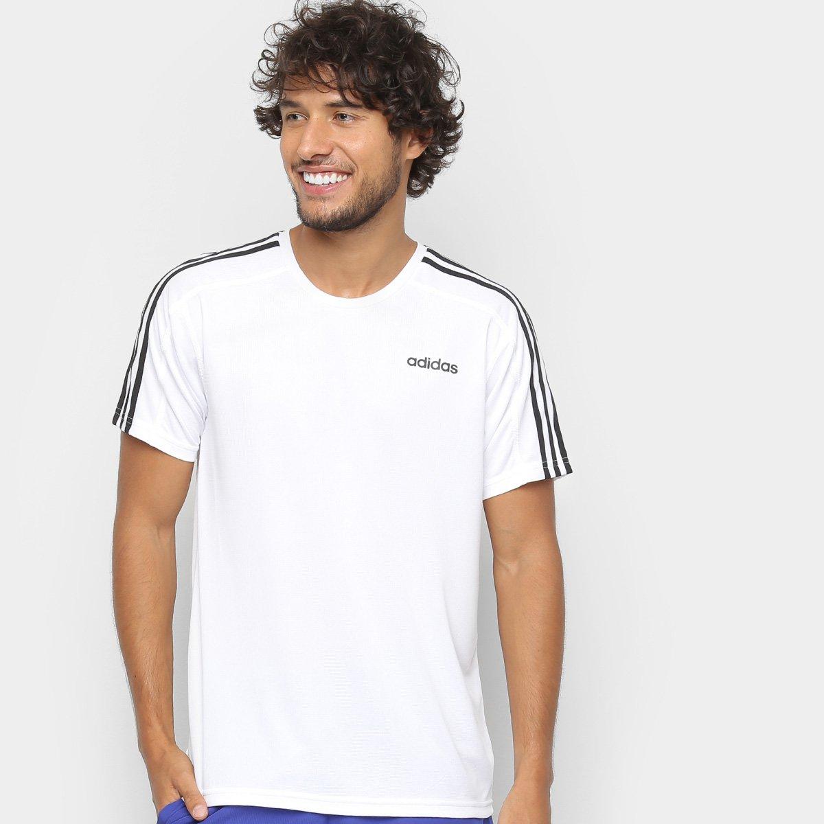 Camiseta Adidas Design 2 Move 3 Stripes Masculina - Branco - Compre ... 50448b0aa2fbd