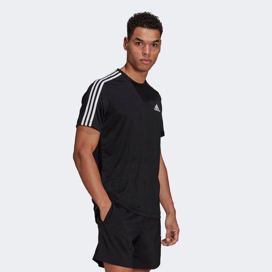 Camiseta Adidas Designed to Move Sport 3 Listras Masculina - Preto