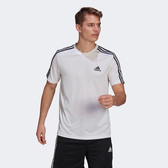 Camiseta Adidas Designed to Move Sport 3 Listras Masculina - Branco