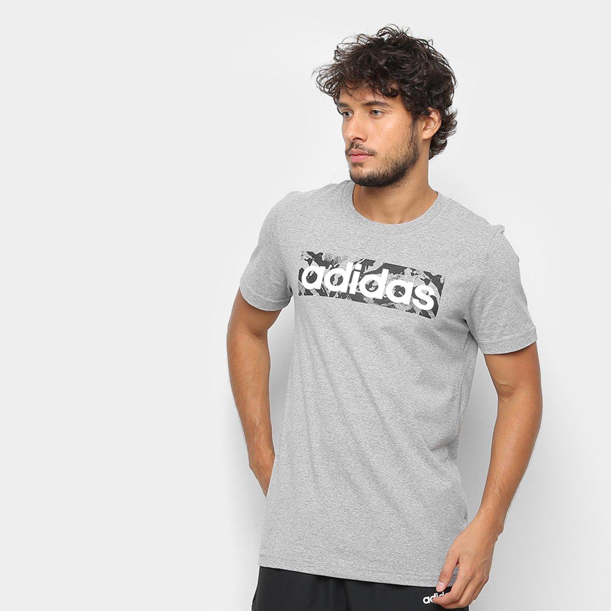 6aba0f7d66 Camiseta Adidas E LIN AOP BOX T Masculina - Cinza - Compre Agora ...