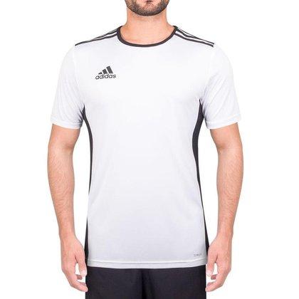 Camiseta Adidas Entrada 18 Branca e Preta