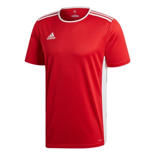 Camiseta Adidas Entrada 18 Masculina - Vermelho+Branco