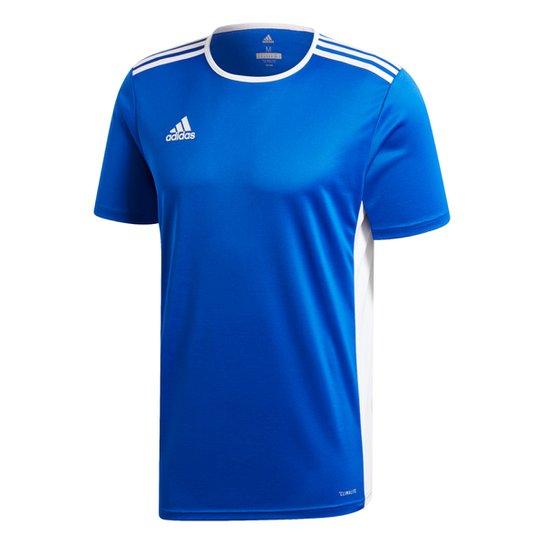 Camiseta Adidas Entrada 18 Masculina - Azul+Branco