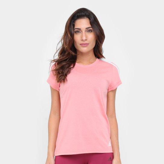 Camiseta Adidas Ess 3S Slim Feminina - Rosa+Branco