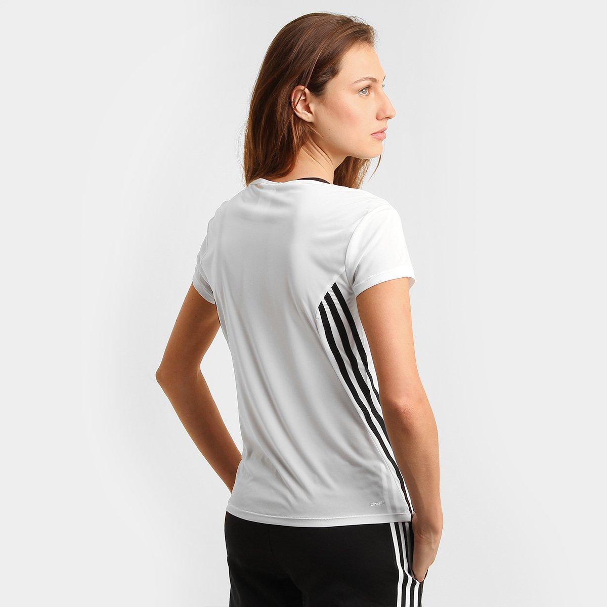 Camiseta Adidas ESS Clima 3S LW Feminina - Branco e Preto - Compre ... 146be5eb3e797
