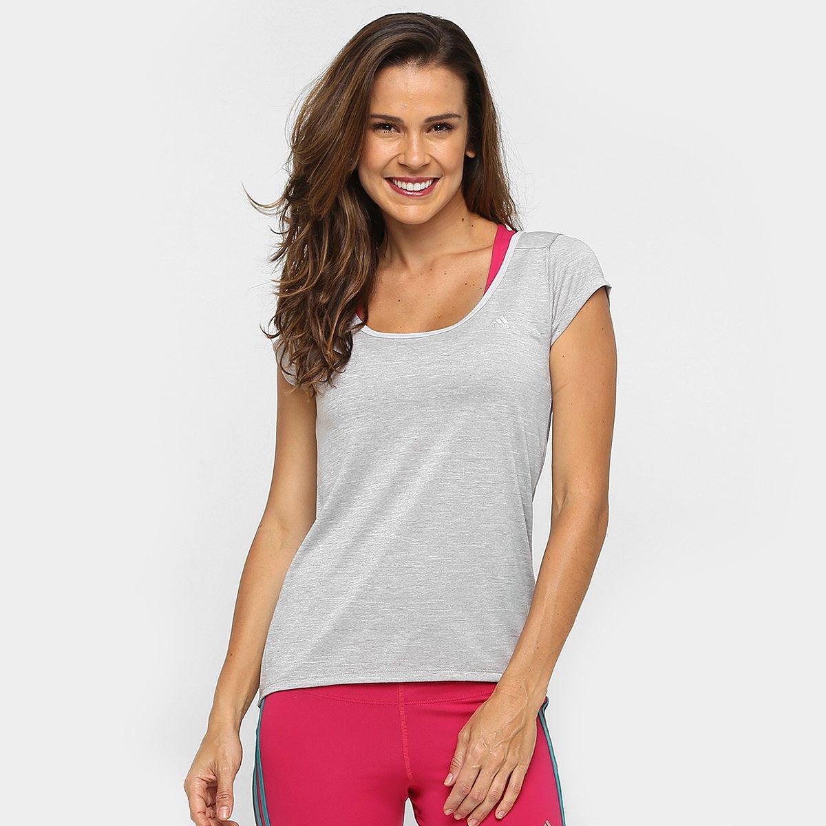Cinza Clima Feminina Camiseta Adidas Ess Camiseta Ess Mescla Clima Adidas zPYUqP