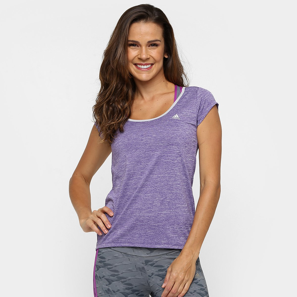 Roxo Camiseta Roxo Mescla Feminina Feminina Clima Ess Clima Adidas Camiseta Ess Adidas Adidas Mescla Camiseta FwTHxg