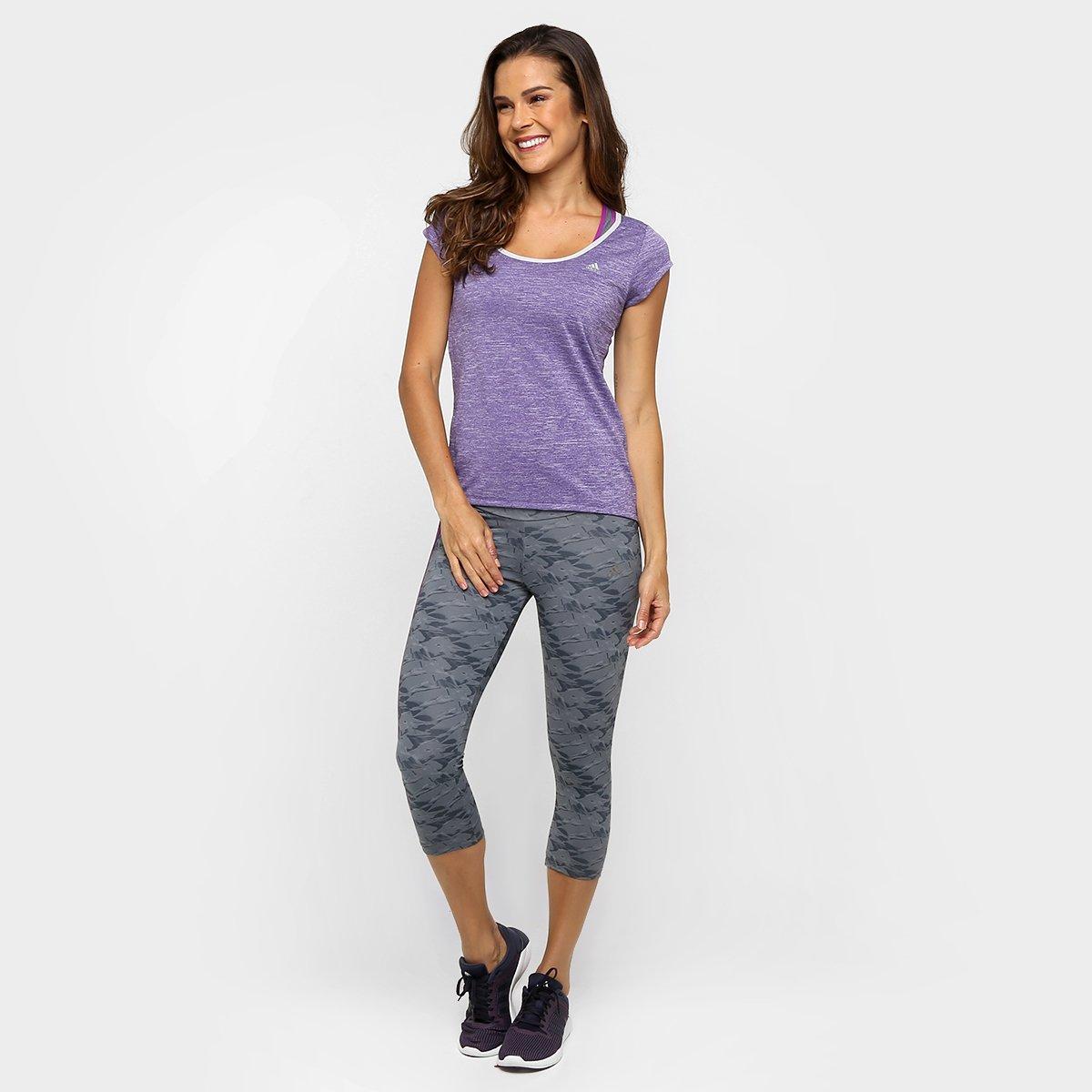 Camiseta Adidas Ess Clima Clima Adidas Feminina Roxo Roxo Camiseta Mescla Ess Feminina Mescla HAqTdR