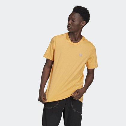 Camiseta Adidas Essential Laranja Trefoil Logo Roxa