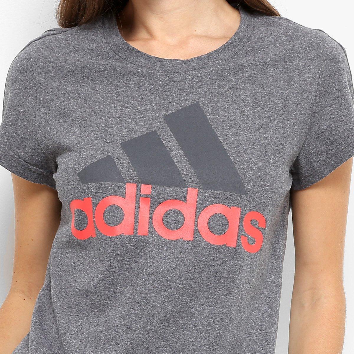 327b1ea9d2 ... 807c2faa9ea Camiseta Adidas Essentials Linear Feminina - Cinza - Compre  Agora .