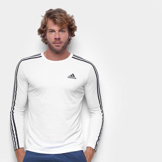 Camiseta Adidas Essentials Performance 3 Listras Manga Longa Masculina - Branco