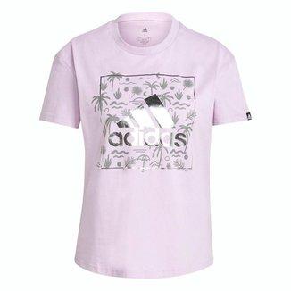 Camiseta Adidas Estampada Floral Big Logo Rosa Feminino
