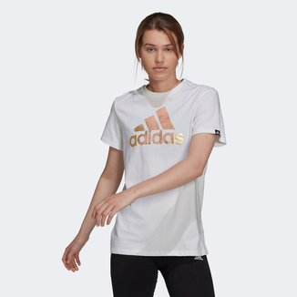 Camiseta Adidas Logo Metalizado Feminina