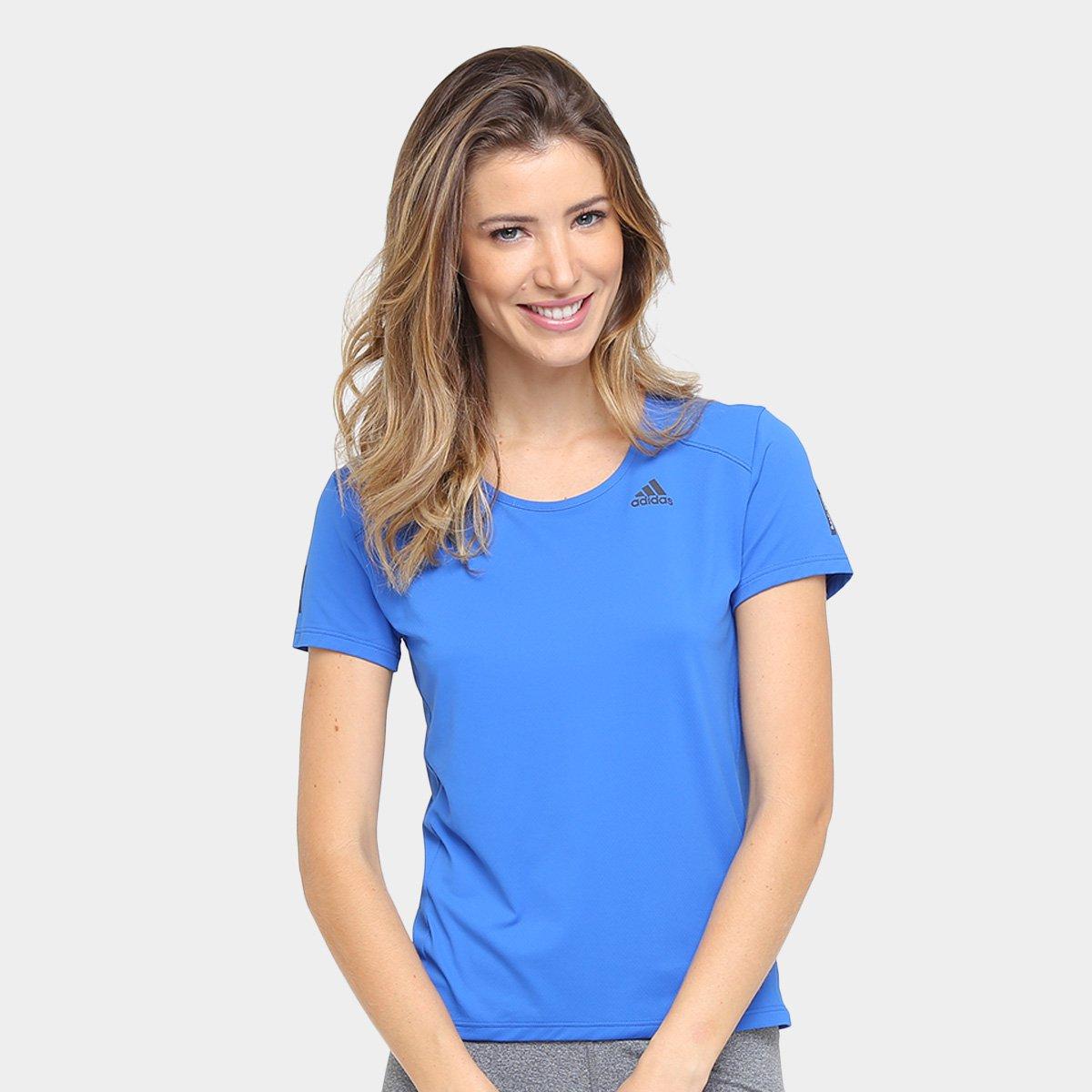6aeb00c3e8 Response Camiseta Azul Adidas Poliamida Poliamida Camiseta Feminina  Response Adidas Feminina dwTgda ...