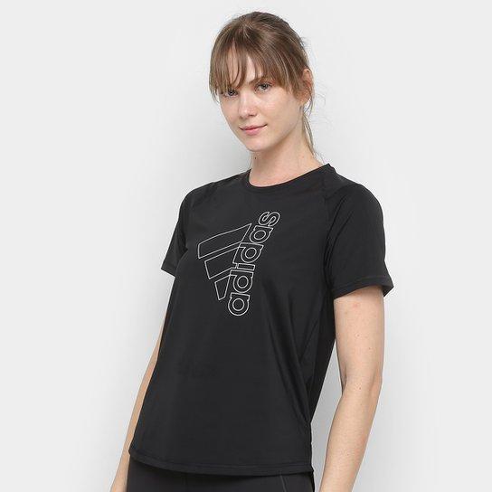 Camiseta Adidas Tech Bos Feminina - Preto+Branco