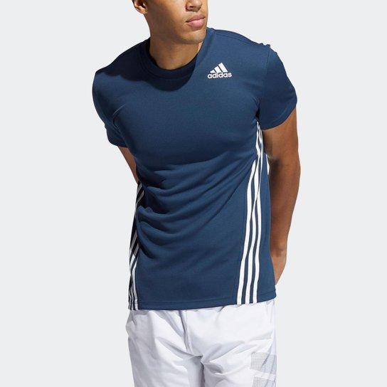 Camiseta AEROREADY 3-Stripes Adidas - Azul+Branco