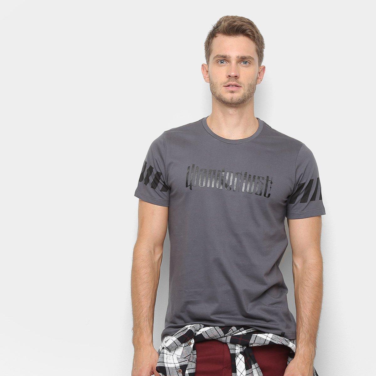 9273f02570 Camiseta All Free Wanderlust Masculina - Cinza - Compre Agora