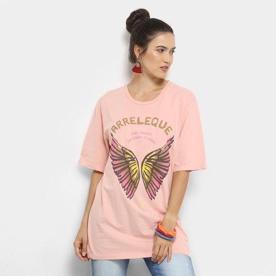 Camiseta Alongada Cantão Arreleque Feminina - Rosa
