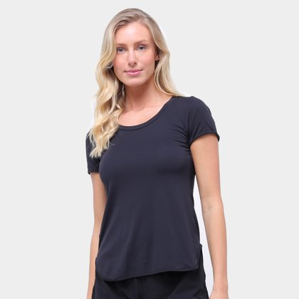Camiseta Alto Giro Skin Fit Alongada Feminina