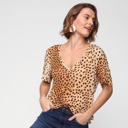 Camiseta Animale Onça Gola V Feminina