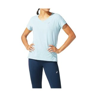 Camiseta ASICS V Neck - Feminino - Azul - tam: M Asics