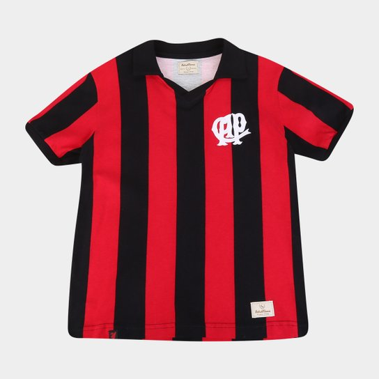 Camiseta Athletico Paranaense Juvenil Retrô 1990 - Preto+Vermelho