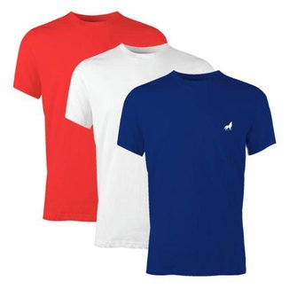 Camiseta Básica Masculina Slim Gola Careca 100% Algodão 30.1 Vira Lata Kit 3 Unidades