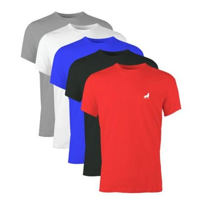 Camiseta Básica Masculina Slim Gola Careca 100% Algodão 30.1 Vira Lata Kit 5 Unidades