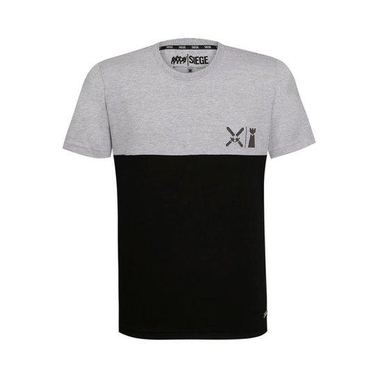 Camiseta Battle Unissex R6 Siege Ubisoft - Cinza+Preto
